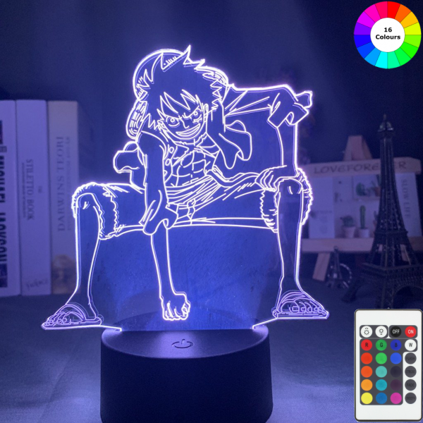 Luffy 3D LED Illusion Lamp MNK1108 7 Colors Without Remote Control Official One Piece Merch