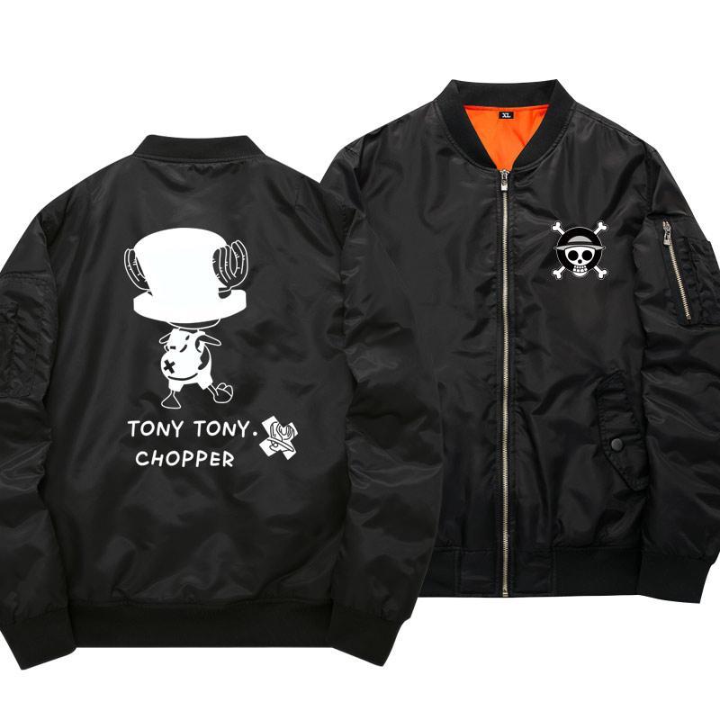 One Piece Tony Tony Chopper Black Bomber Jacket ANM0608 S Official One Piece Merch