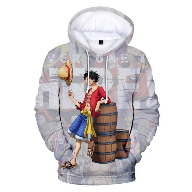 One Piece Monkey D. Luffy Standing Barrels Hoodie ANM0608 XXS Official One Piece Merch