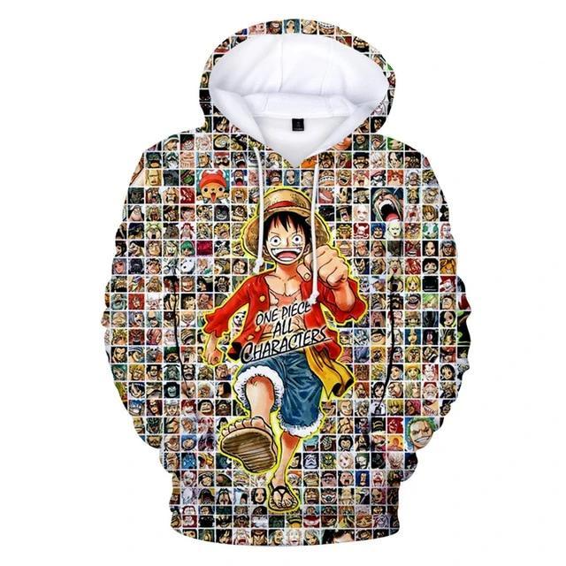 One Piece Monkey D. Luffy All Characters Hoodie ANM0608 XXS Official One Piece Merch