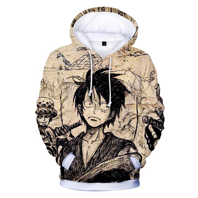 One Piece Monkey D. Luffy Vintage Hoodie ANM0608 XXS Official One Piece Merch