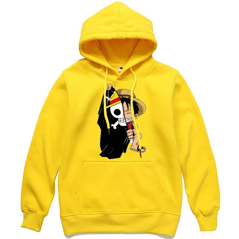 One Piece Monkey D. Luffy Hoodie ANM0608 Yellow / S Official One Piece Merch