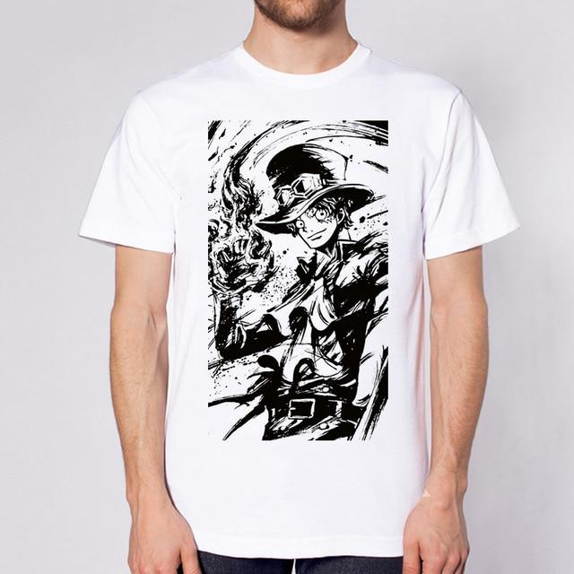 One Piece Black & White Sabo T-Shirt ANM0608 S Official One Piece Merch