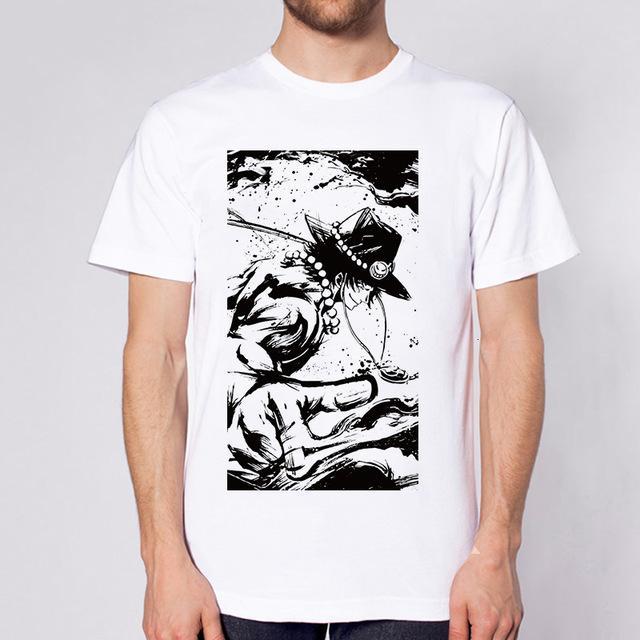 One Piece Black & White Portgas D. Ace T-Shirt ANM0608 S Official One Piece Merch