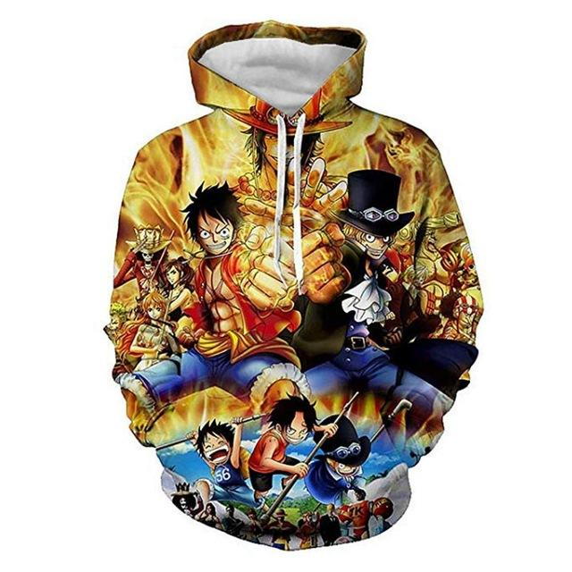 One Piece Monkey D. Luffy & Sabo Hoodie ANM0608 M Official One Piece Merch