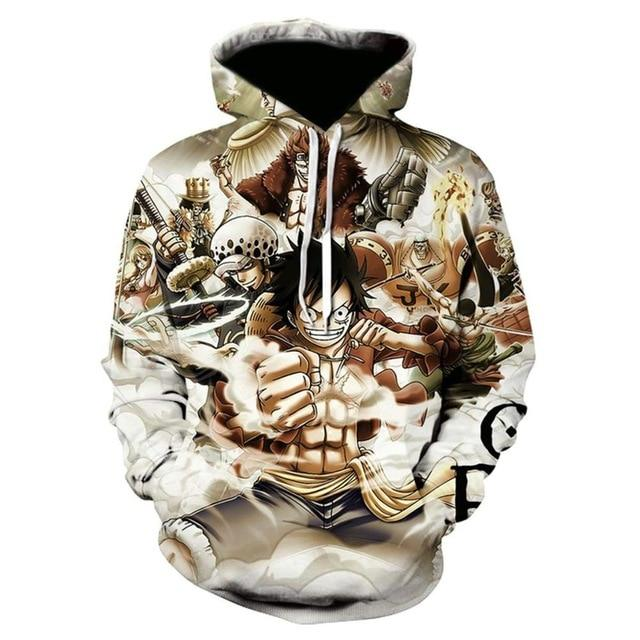 One Piece Monkey D. Luffy Sixpack Hoodie ANM0608 M Official One Piece Merch