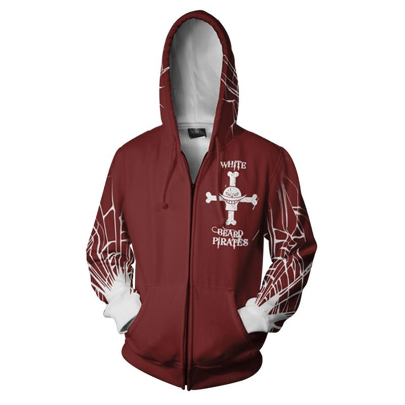 One Piece Whitebeard Pirates Zip Hoodie ANM0608 S Official One Piece Merch