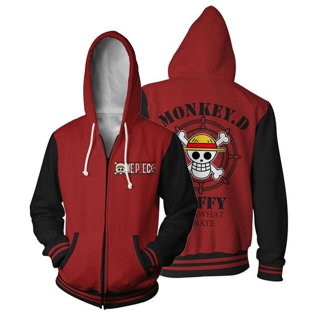 One Piece Monkey D. Luffy Jolly Roger Zip Hoodie ANM0608 S Official One Piece Merch