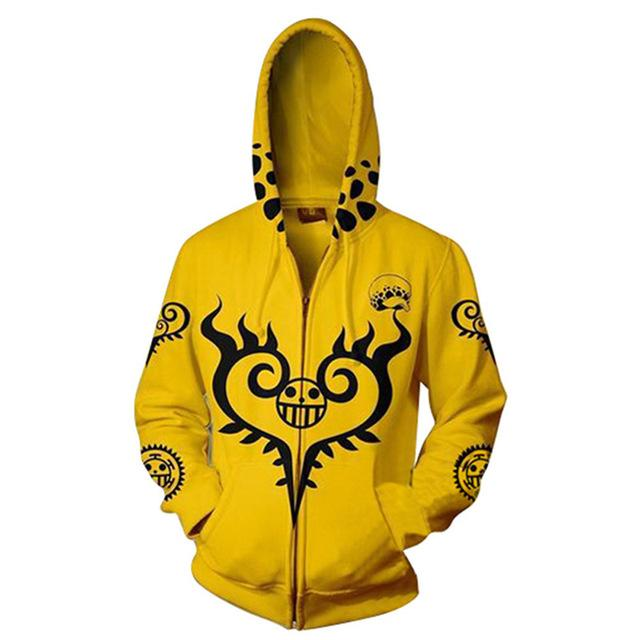 One Piece Yellow Surgeon of Death Zip Hoodie ANM0608 S Official One Piece Merch