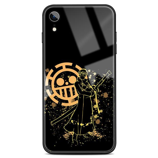 One Piece Trafalgar Law Jolly Roger Tempered Glass iPhone Case ANM0608 For iPhone 6 6s Official One Piece Merch