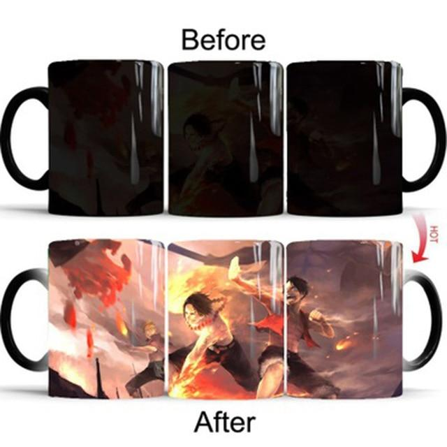 One Piece Portgas D. Ace & Monkey D. Luffy Fighting Color Changing Mug Cup ANM0608 Default Title Official One Piece Merch
