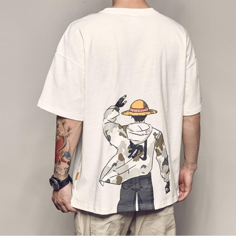 One Piece Monkey D. Luffy Streetwear Oversized T-Shirt ANM0608 White / S Official One Piece Merch