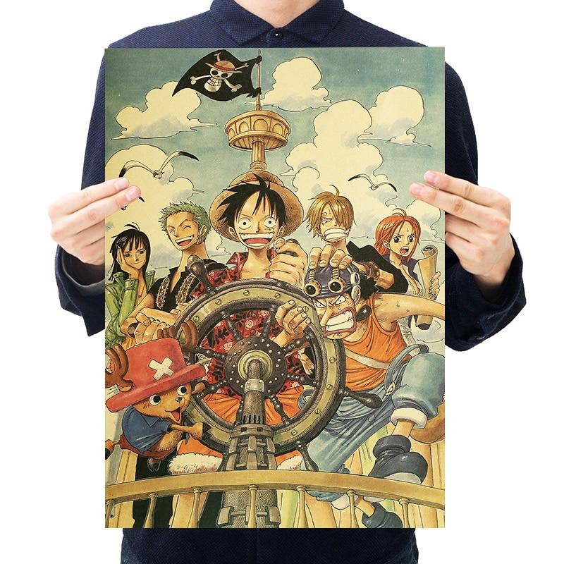 Retro One Piece Poster Wall Sticker ANM0608 Default Title Official One Piece Merch