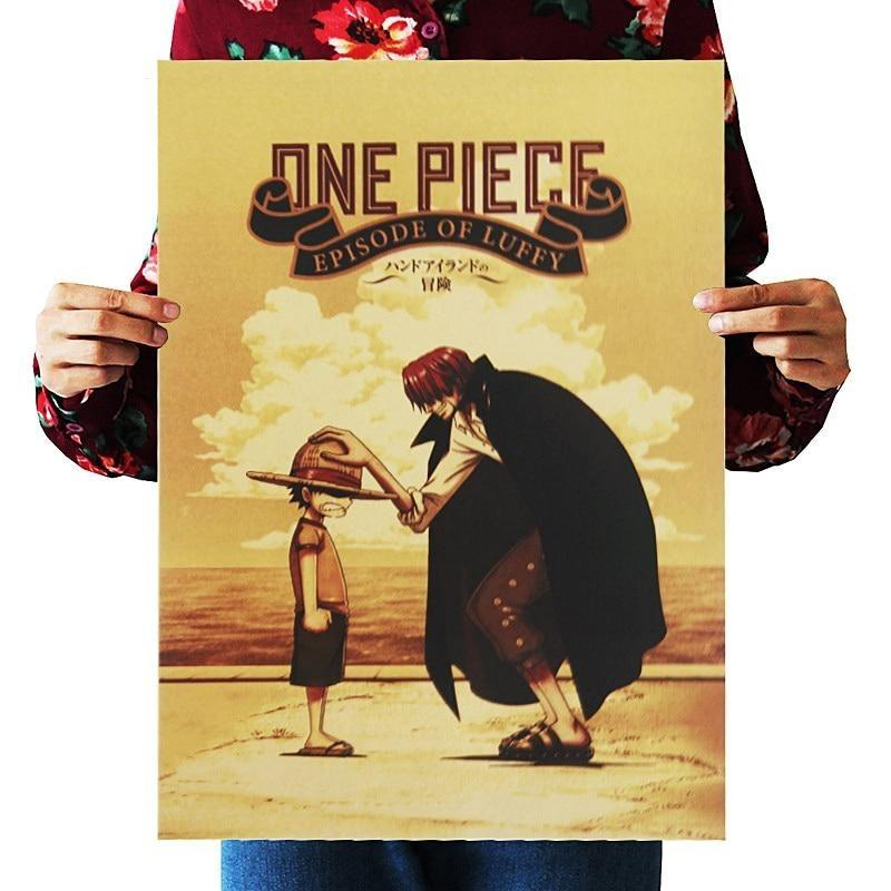Classic One Piece Monkey D. Luffy and Red Haired Shanks Movie Poster ANM0608 Default Title Official One Piece Merch